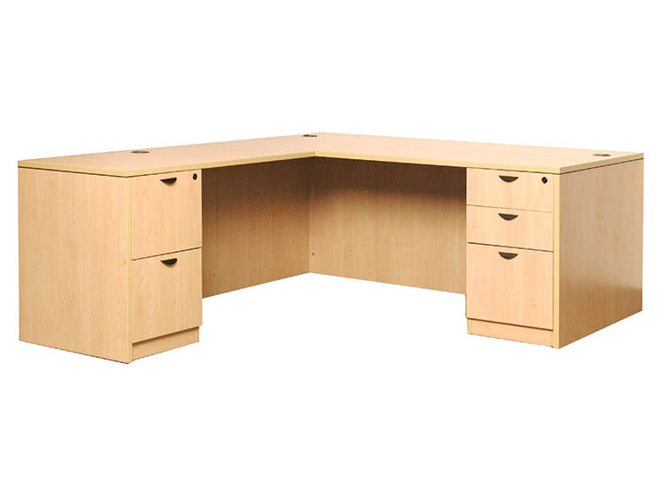 Desk with Return and 2 Full Pedestals