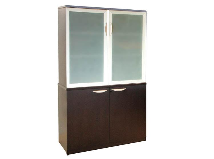 Laminate series bookcase storage unit glass door storage cabinet