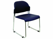 Polypropylene Stacking Chair with  Chrome Sled Base
