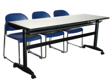 Training Table with Under Tray & Caster Stopper